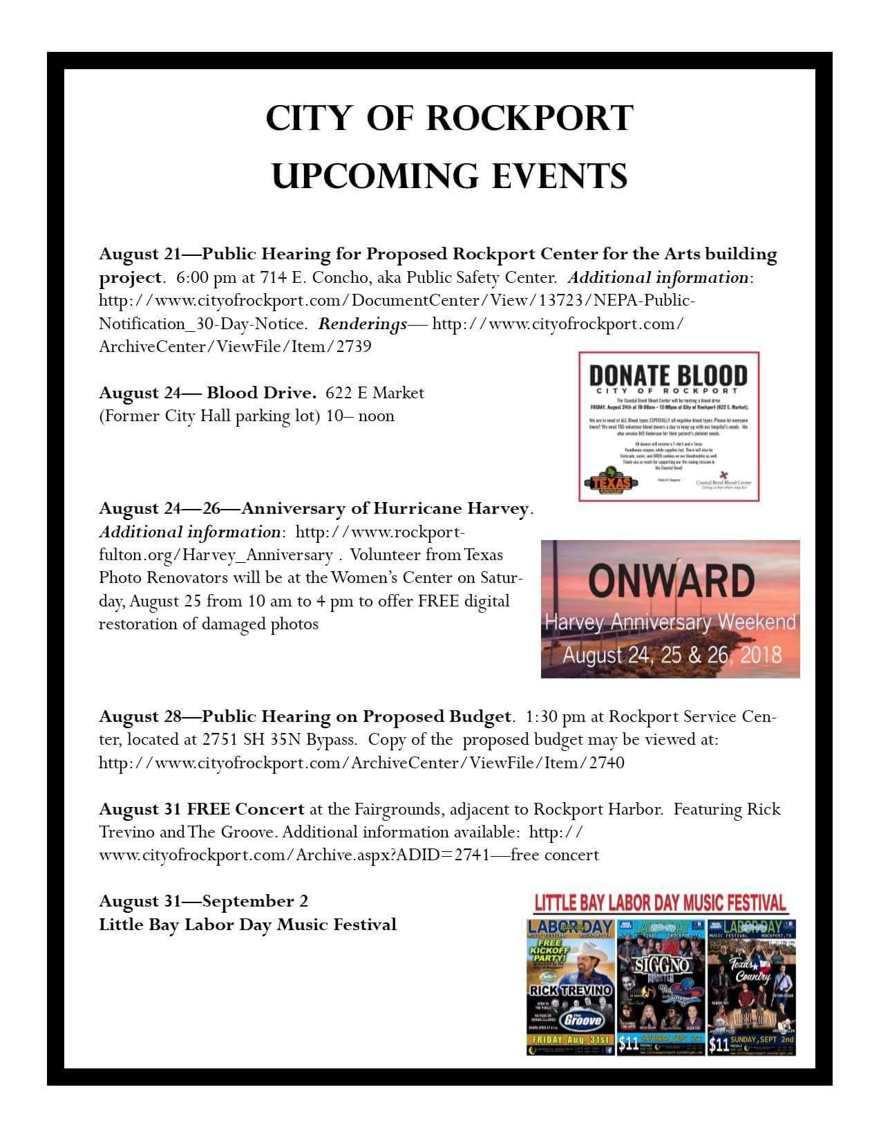 Rockport Upcoming Events – Aransas County Harvey Recovery